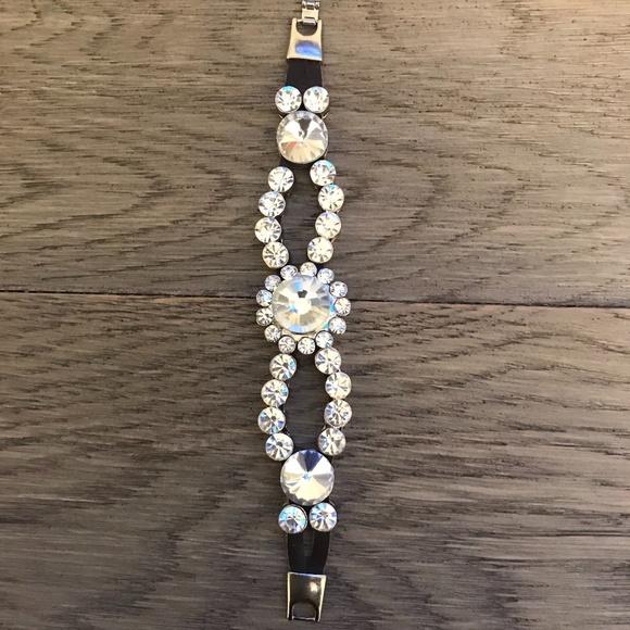 Leather and rhinestone bracelet